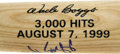 Autographs:Bats, Wade Boggs Signed 3,000th Hit Commemorative Mini Bat. Theexceptional contact hitter Wade Boggs celebrated his inclusionin...