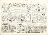Charles Schulz - Peanuts Sunday Comic Strip Original Art, dated 4-10-55 (United Feature Syndicate, 1955)
