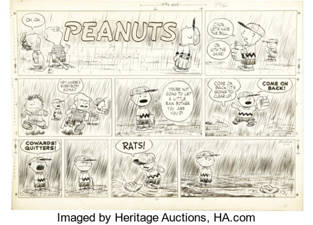 Charles Schulz - Peanuts Sunday Comic Strip Original Art, dated 4-10-55 (United Feature Syndicate, 1955)....