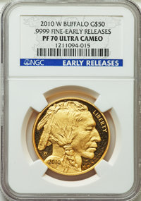 2010-W $50 One-Ounce Gold Buffalo, Early Releases PR70 Ultra Cameo NGC. .9999 Fine. NGC Census: (1951). PCGS Population:...