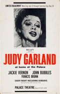 Music Memorabilia:Posters, Judy Garland Palace Theatre Concert Poster (1967)....
