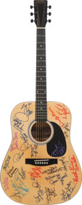 Music Memorabilia:Memorabilia, Petula Clark, Billy Paul, Archie Bell and Others Signed 1990's Delta Blues Natural Acoustic Guitar....