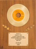 "Music Memorabilia:Awards, John Denver ""Sunshine On My Shoulders"" In-House Gold Record SalesAward (RCA APB0-0213, 1973). ..."
