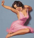 Pin-up and Glamour Art, Earl Moran (American, 1893-1984). Woman in Pink Dress.Pastel on board. 20 x 18 in. (sight). Signed lower right. ...