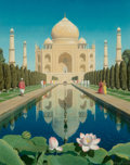 Pulp, Pulp-like, Digests, and Paperback Art, Chesley Bonestell (American, 1888-1986). Taj Mahal, 1955.Oil on board. 19 x 15 in. (sight). Signed lower right. ...