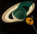 Pulp, Pulp-like, Digests, and Paperback Art, Chesley Bonestell (American, 1888-1986). 1976 Mission Arrives atSaturn, Fantasy and Science Fiction Magazine cover, Oct...