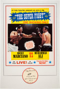 """Boxing Collectibles:Autographs, 1970 Muhammad Ali vs. Rocky Marciano """"Super Fight"""" Fight Poster andHand Drawn, Signed Display, PSA/DNA Gem Mint 10.. ..."""