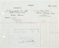 Music Memorabilia:Autographs and Signed Items, Beatles - Ringo Starr Invoice Signed (1967)....