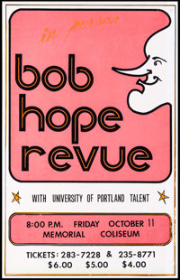 "Bob Hope Revue at the Memorial Coliseum & Other Lot (1974). Screen Print Performance Poster (14"" X 22"") &a..."