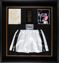 Boxing Collectibles:Autographs, 1990's Muhammad Ali Signed Boxing Trunks & Hand CastingDisplay. ...