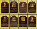 Baseball Collectibles:Others, Baseball Hall of Famers Signed Hall of Fame Plaque Postcards Lot of8....