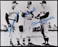 Baseball Collectibles:Photos, Williams, Musial and Mantle Multi-Signed Photograph....