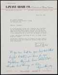 Baseball Collectibles:Others, 1955 Rogers Hornsby Signed Letter....