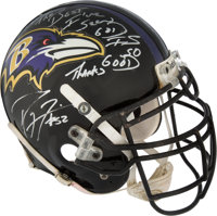 2001 Ray Lewis Game Worn Baltimore Ravens Helmet - Gifted to Tim Brown at the Pro Bowl