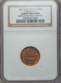 Civil War Tokens, 1863 United States Capital, Army & Navy Civil War Token,F-233/312 A, MS64 Red and Brown NGC....