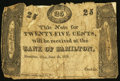 Obsoletes By State:Ohio, Hamilton, OH- Bank of Hamilton 25¢ June 5, 1820. ...