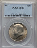 Kennedy Half Dollars, 1977 50C MS67 PCGS. PCGS Population: (36/0). NGC Census: (26/1).Mintage 43,598,000. ...