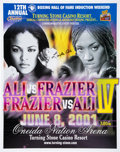 Boxing Collectibles:Autographs, 2001 Laila Ali vs. Jacqui Frazier Lyde Fight Poster - Signed by Ali....