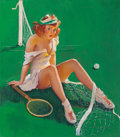 Pin-up and Glamour Art, Gil Elvgren (American, 1914-1980). Net Results, Brown &Bigelow calendar illustration, July 1946. Oil on canvas laid on... (Total: 2 Items)