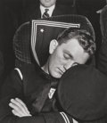 Photographs:Gelatin Silver, Esther Bubley (American, 1922-1998). Sailor asleep on a train, 1940. Gelatin silver, printed later. 12 x 10-1/2 inches (...