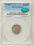 Early Half Dimes, 1794 H10C MS65+ PCGS. CAC. PCGS Population: (6/1). NGC Census:(4/2). CDN: $65,000 Whsle. Bid for problem-free NGC/PCGS MS6...
