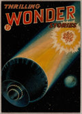 Original Comic Art:Covers, Hans Waldemar Wesso Thrilling Wonder Stories Preliminary Study Cover Painting Original Art (Standard, c. 1930s)....