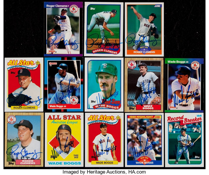 Signed Wade Boggs Roger Clemens Baseball Cards Lot Of 13