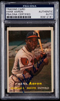 Autographs:Sports Cards, Signed 1957 Topps Hank Aaron #20 PSA/DNA Authentic . ...