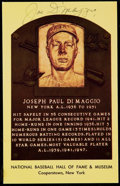 Autographs:Post Cards, Signed Joe DiMaggio Yellow Hall of Fame Plaque Post Card. ...