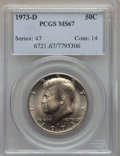 Kennedy Half Dollars, 1973-D 50C MS67 PCGS. PCGS Population: (57/0). NGC Census: (18/0).Mintage 83,171,400. ...