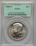 Kennedy Half Dollars, 1980-P 50C MS67 PCGS. PCGS Population: (172/0). NGC Census: (21/0). Mintage 44,134,000. ...