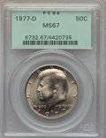 Kennedy Half Dollars, 1977-D 50C MS67 PCGS. PCGS Population: (46/1). NGC Census: (13/0).Mintage 31,449,106. ...