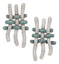 Estate Jewelry:Earrings, Colored Diamond, Diamond, White Gold Earrings, Palmiero. ...(Total: 2 Items)