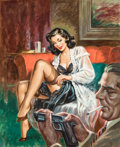 Paintings, American Artist (20th Century). Blackmailing Baby Beware! Woman in Crime magazine cover. Gouache on board. 17.5 x 14.25 ...