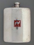 Silver Holloware, American:Flasks, A Tiffany & Co. Silver Flask with Enameled Camel Emblem, NewYork, New York, circa 1919-1947. Marks: TIFFANY & CO.,19579A...