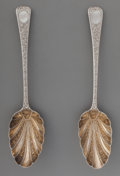 Silver & Vertu:Flatware, Two Thomas Wallis George III Partial Gilt Serving Spoons, London, England, circa 1829. Marks: (lion passant), (leopard's hea... (Total: 2 Items)