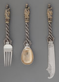 Silver Flatware, Chinese Export, A Three-Piece Sun Shing Chinese Export Partial Gilt Silver Child'sFlatware Set, Canton & Hong Kong, China, early 20th centu...