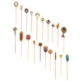 Diamond, Multi-Stone, Seed Pearl, Enamel, Painted Portrait, Glass, Gold, Base Metal Stickpins