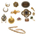 Estate Jewelry:Lots, Victorian Diamond, Multi-Stone, Seed Pearl, Enamel, Glass, Hair, Gold, Vermeil Jewelry. ... (Total: 15 Items)