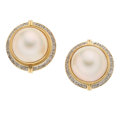 Estate Jewelry:Earrings, Mabé Pearl, Diamond, Gold Earrings. ... (Total: 2 Items)