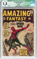 Silver Age (1956-1969):Superhero, Amazing Fantasy #15 (Marvel, 1962) CGC Qualified FR/GD 1.5 Off-white pages....