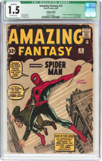 Amazing Fantasy #15 (Marvel, 1962) CGC Qualified FR/GD 1.5 Off-white pages