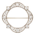 Estate Jewelry:Brooches - Pins, Art Deco Diamond, White Gold Brooch. . ...