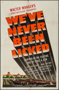 "Movie Posters:War, We've Never Been Licked (Universal, 1943). One Sheet (27"" X 41"").War.. ..."