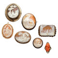 Estate Jewelry:Cameos, Shell Cameo, Coral Cameo, Diamond, Gold, Silver, Base MetalJewelry. ... (Total: 7 Items)