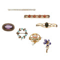 Estate Jewelry:Brooches - Pins, Diamond, Multi-Stone, Freshwater Cultured Pearl, Seed Pearl,Enamel, Gold Brooches. ... (Total: 7 Items)