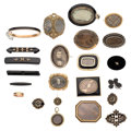 Estate Jewelry:Lots, Victorian Black Onyx, Freshwater Pearl, Seed Pearl, Hair, Gold,Silver, Gold-Filled, Base Metal Mourning Jewelry. ... (Total: 23Items)