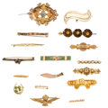 Estate Jewelry:Brooches - Pins, Victorian Diamond, Serpentine, Freshwater Pearl, Seed Pearl, Enamel, Glass, Gold Brooches. ... (Total: 16 Items)