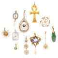 Estate Jewelry:Pendants and Lockets, Diamond, Multi-Stone, Freshwater Pearl, Seed Pearl, Gold Pendants.... (Total: 11 Items)