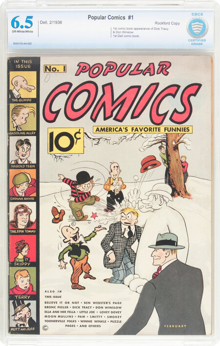 Popular Comics #1 Rockford Pedigree (Dell, 1936) CBCS FN+ 6.5 Off-white to white pages....